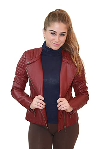 Womens Faux Leather Zip Up Moto Biker Jacket JK5207SX BURGUNDY 2X