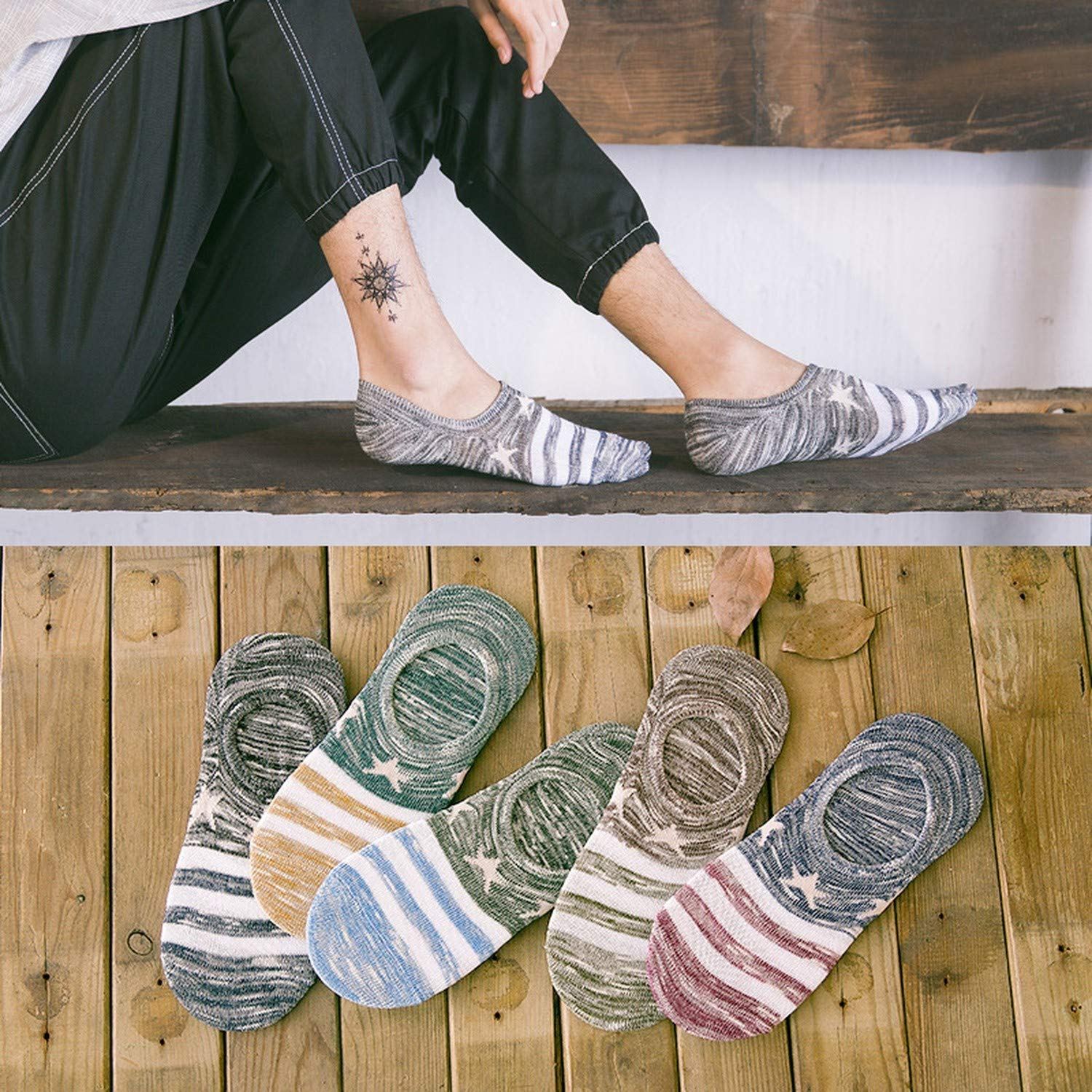 Hot Pentagram Boat Socks Shallow Mouth Men Striped Cotton Socks Summer Non-Slip Ankle Contrast Color Sox