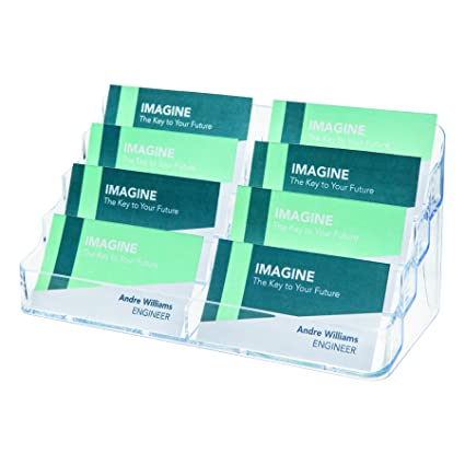 Deflecto 70801 Eight Pocket Business Card Holder Capacity 400 Cards Clear