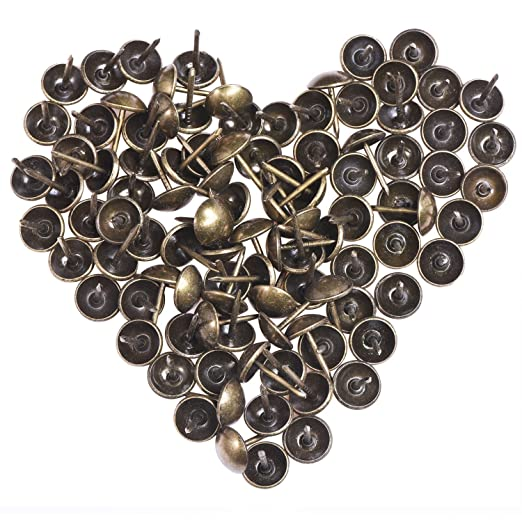 120 Piezas Tachuelas de Tapicería 11 por 17 mm Chinchetas de Bronce Antiguo Clavos de Alfiler de Bronce Clavos de Tachuela de Pulgar de Muebles con ...