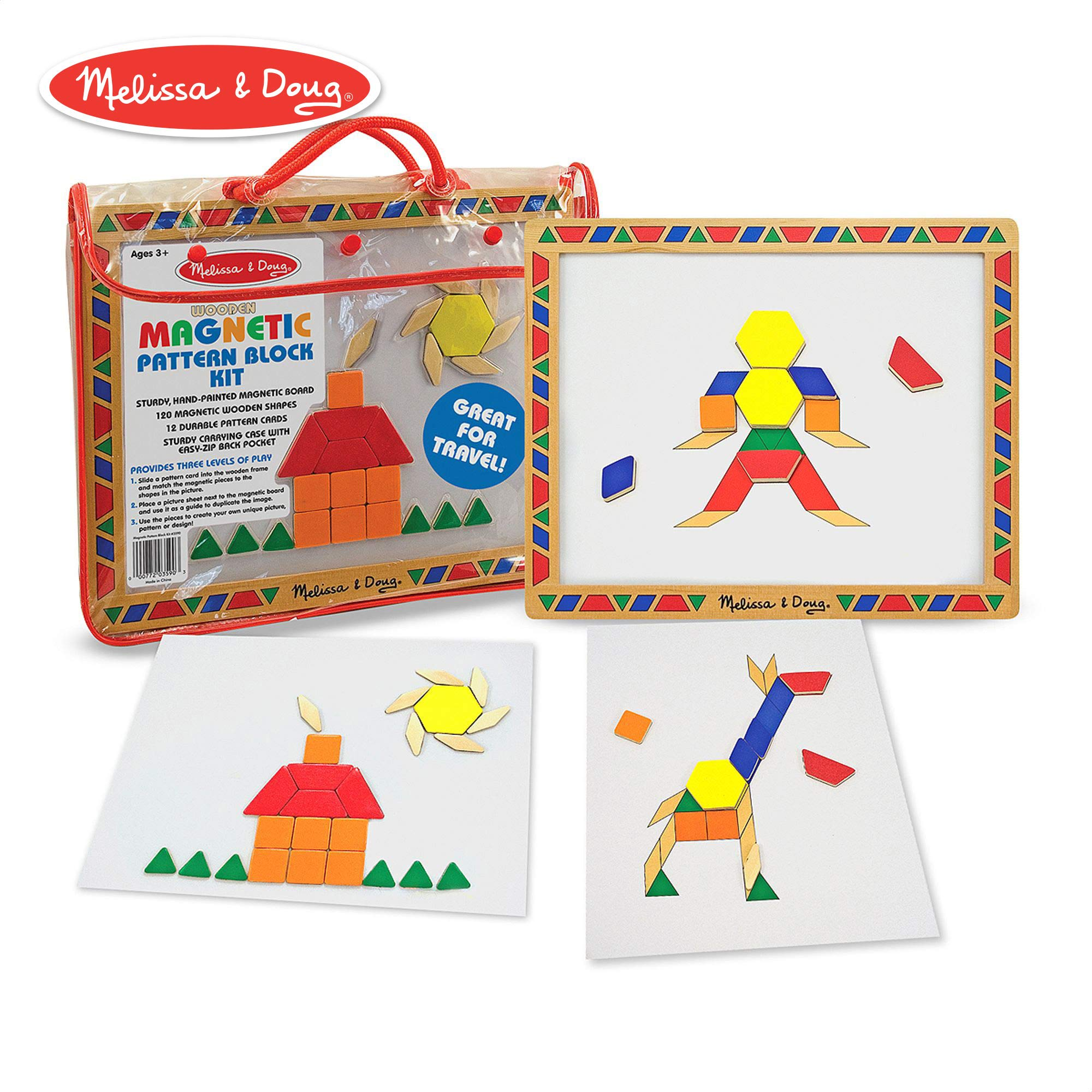 Melissa & Doug Magnetic Pattern Blocks Set, Developmental Toys, Sturdy Wooden Play Board, Carrying Case, 120 Pieces, 14.5'' H x 12.5'' W x 1.5'' L