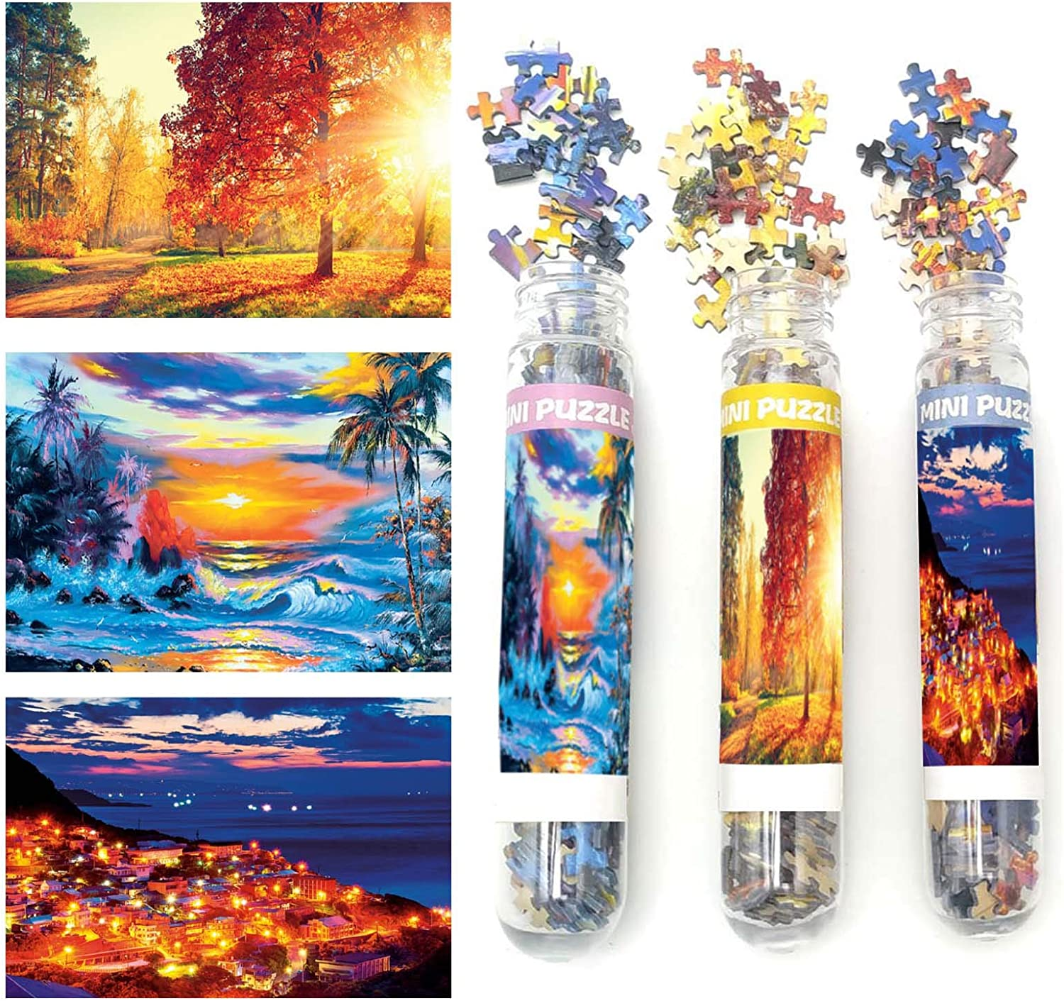 Small Jigsaw Puzzles for Adults Water Sky Sunrise Golden Trees Sunset Harbor Town Night 150 Pieces Jigsaw Puzzle Home Decor Entertainment Challenging Puzzle Difficult Puzzles 6 x 4 Inch, 3 Pack