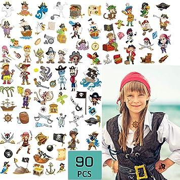 Tatuajes temporales de pirata (90 piezas), pegatinas de pirata ...