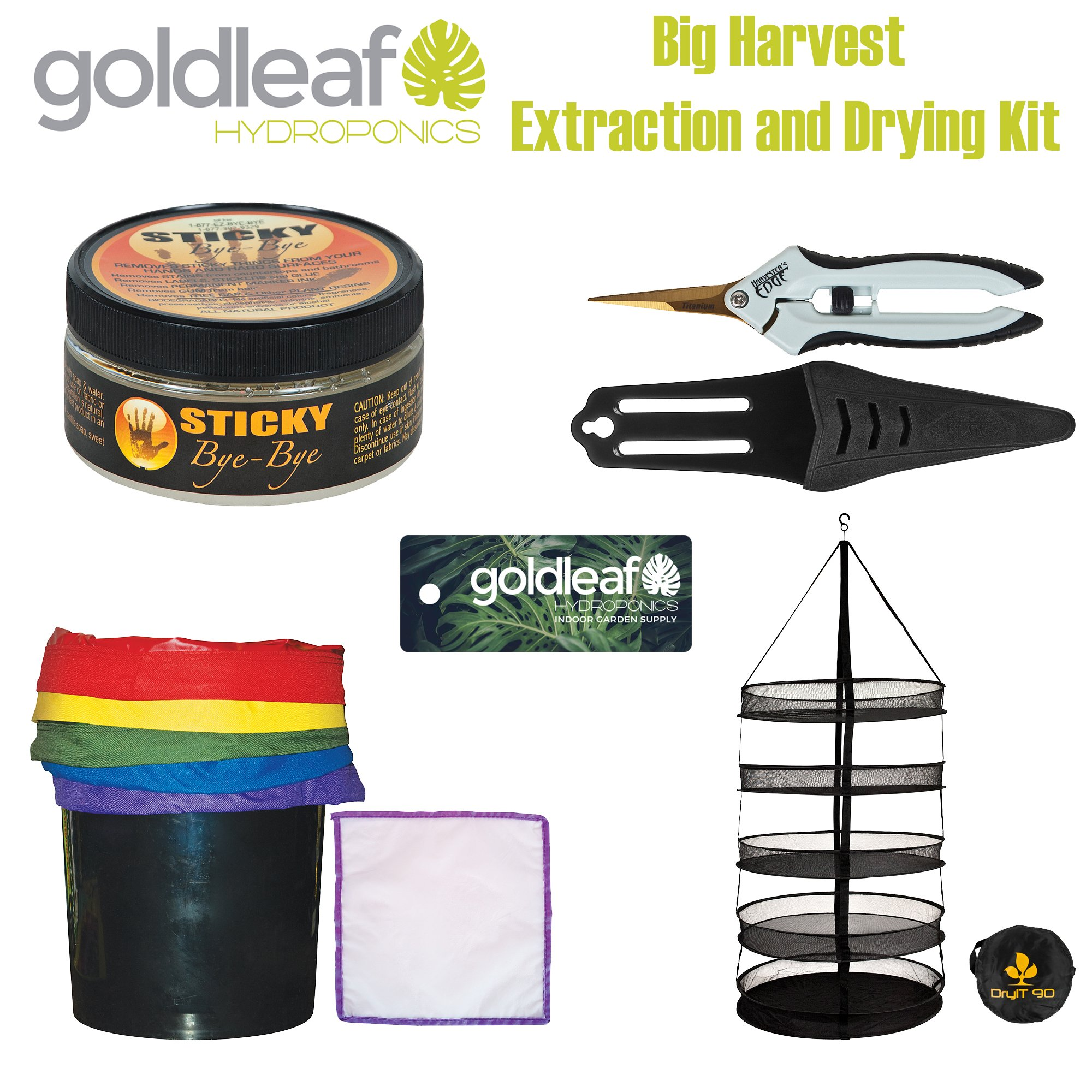 Big Harvest Essential Oil Extraction and Drying Kit with Micropore Bags, Rack, Trimmers & Cleaning Solution by Goldleaf Hydroponics