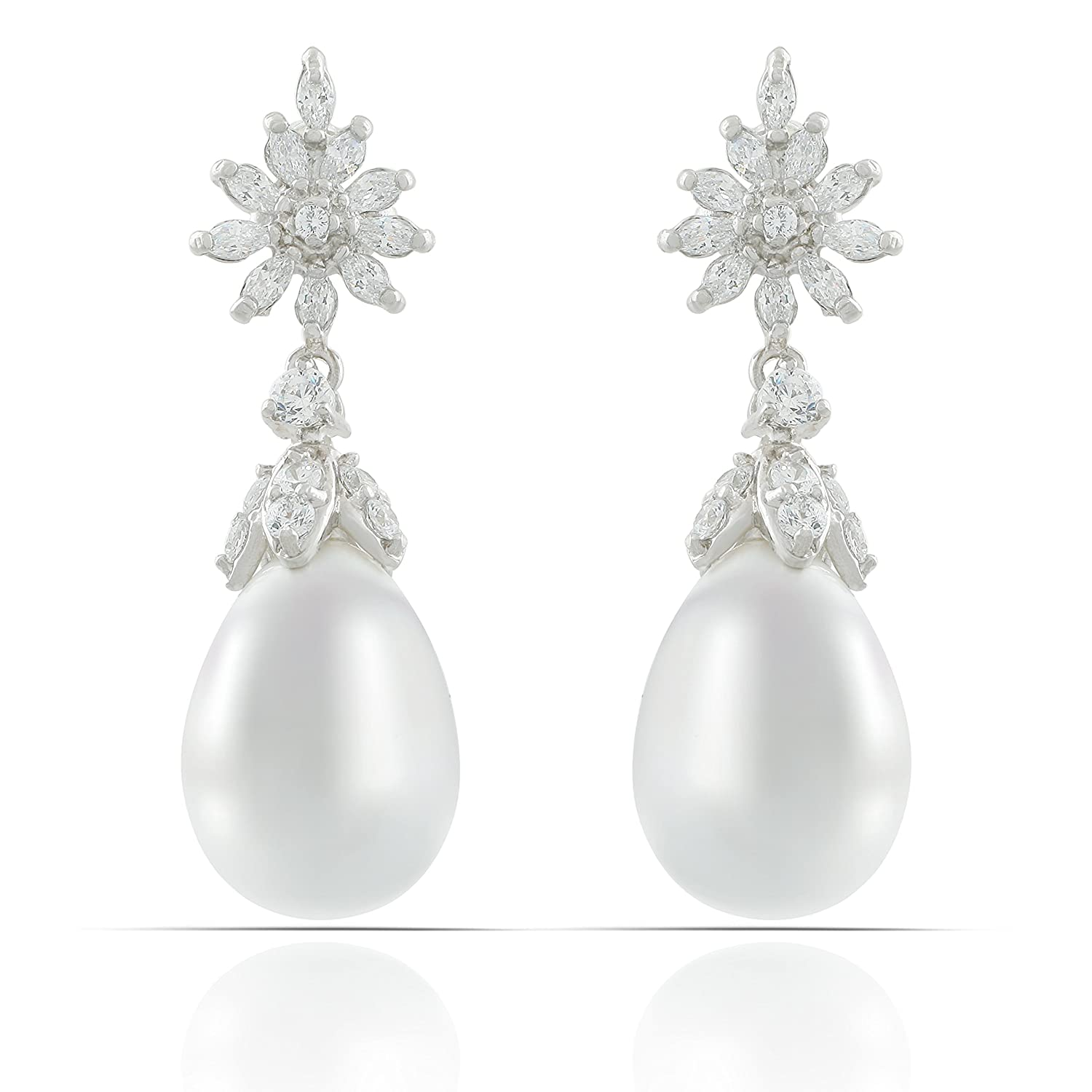 JanKuo Jewelry Rhodium Plated Bridal Prom Simulated Pearl Drop Cubic Zirconia Marquise Dangle Earrings