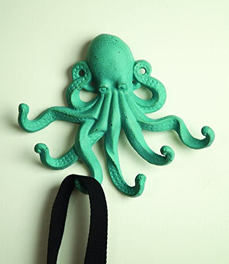 cast iron octopus hooks verdigris green metal wall coat hanger 6