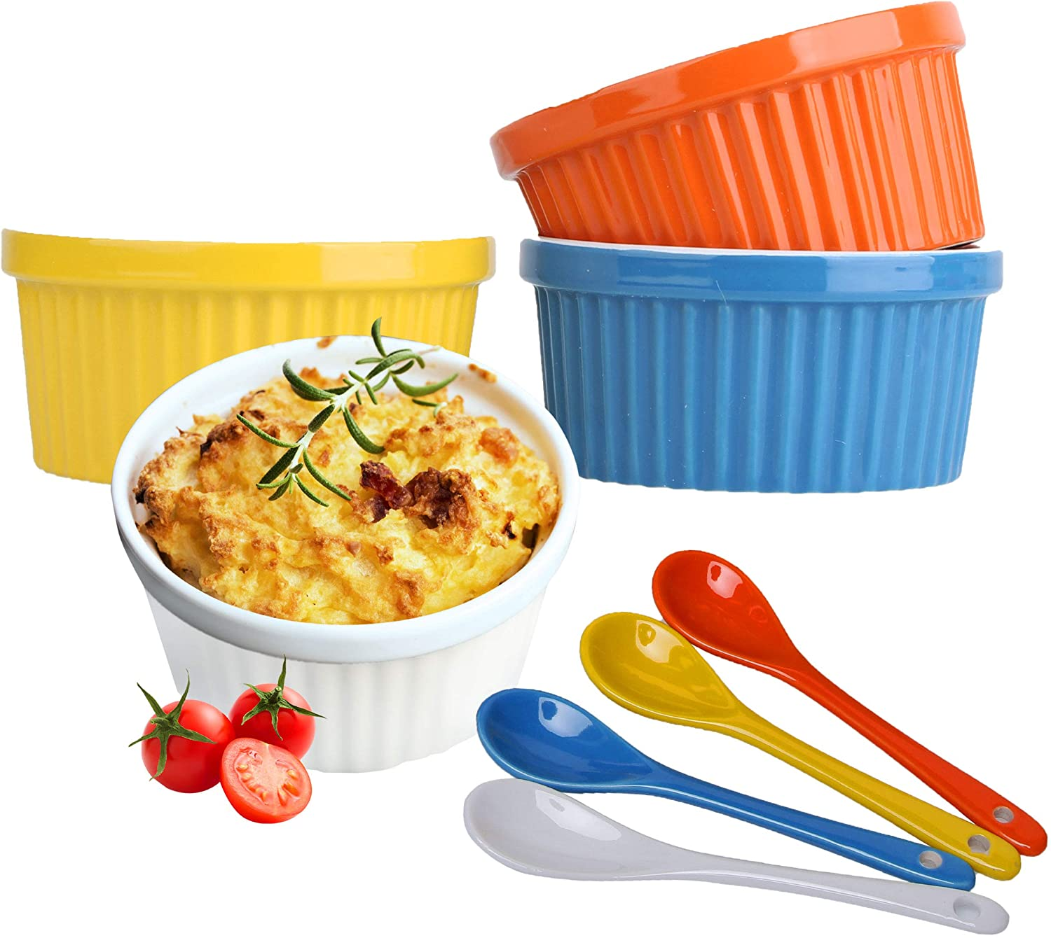 Souffle Dish Ramekins for Baking – 12 Ounce (Set of 4, Assorted Colors with 4 Extra Spoons) 12 Oz Ceramic Oven Safe Round Fluted Bowl for Desserts Soups Snacks Quiche Appetizers Casserole Creme Brulee