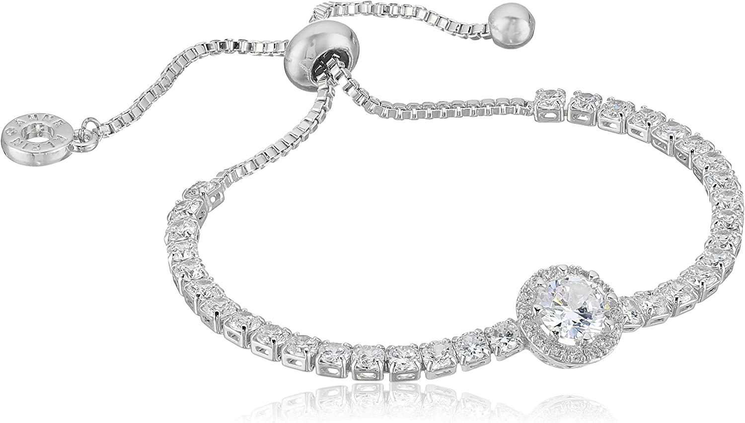 Anne Klein Classics Silver-Tone Pave Center Stone Slider Bracelet, One Size