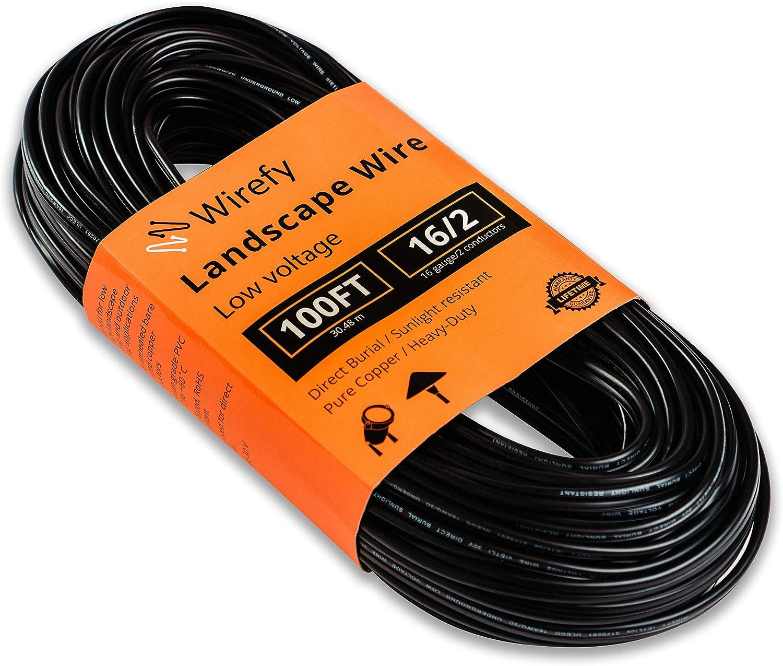 Wirefy 16/2 Low Voltage Landscape Lighting Wire - 16-Gauge 2-Conductor 100 Feet
