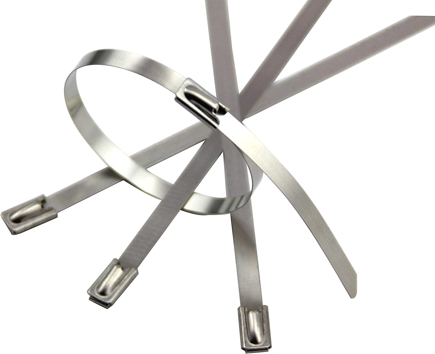 """50 10/"""" Stainless Steel Metal Cable Tie Clamp Strap Exhaust Header Wrap w Tool"""