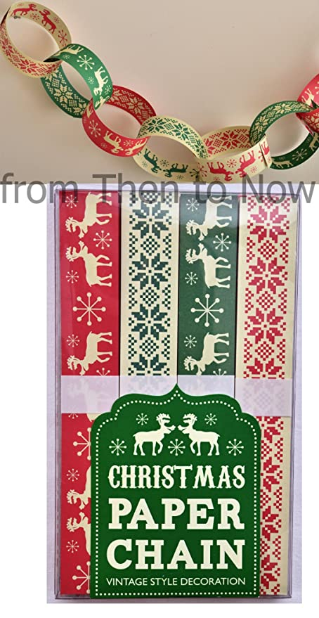 make your own christmas paper chain 200 chains traditional vintage xmas decorations stencil design make - Christmas Chain Decorations
