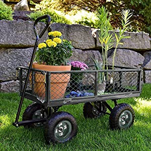 "Garden Cart Yard Dump Cart Wagon Carrier Wheelbarrow 4 Air Tires With Pulling Wagon Heavy Duty Steel Frame,10"" Pneumatic Tires"