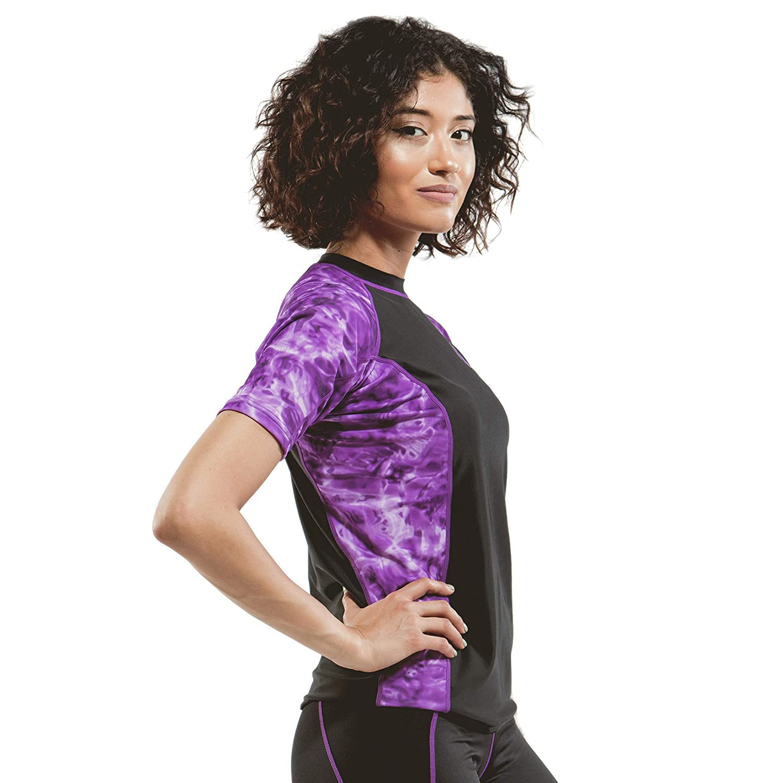 Aqua Design Rash Guard Shirt Women UV UPF 50 Short Sleeve Swim Shirts Surf Top
