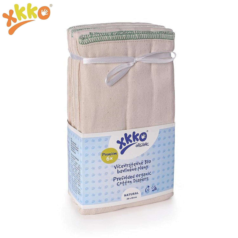 XKKO Prefolds - 100% Bio-Baumwolle - (6 Stück) - Small (orangener Saum) - 32x34 cm (3-7 kg) - Bio-Baumwolle Mullwindeln Musselin Stoffwindeln Windeln Muslin Faltwindeln Vorfalz Prefold Kalifornisch
