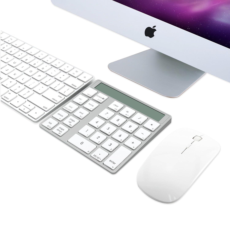 construit Double Pile au Lithium Rechargeable int/égr/ée Cateck 2 en 1 Clavier et Calculatrice Bluetooth Intelligent Combo sans Fil en Aluminium /à 28 Touches pour Mac et PC