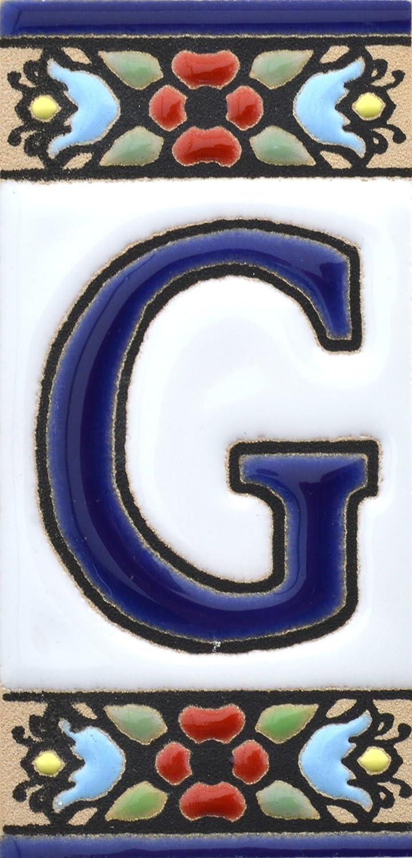 MARGINE CENEFA Disegno Flores Mini 7,3 cm x 3,5 cm ART ESCUDELLERS Insegna con Numeri e Lettere Fatte di Piastrelle Ceramica dipinte a Mano con la Tecnica cuerda seca Nomi indirizzi e segnaletica