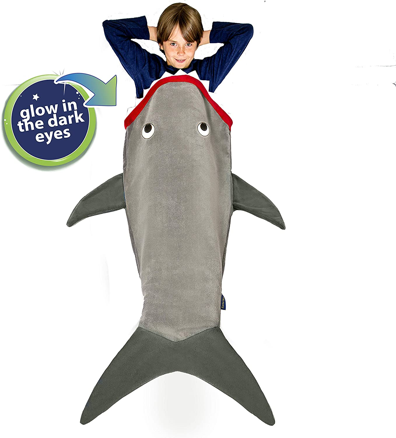 Blankie Tails   Shark Blanket, New Shark Tail Double Sided Super Soft and Cozy Minky Fleece Blanket, Machine Washable Wearable Blanket (56'' H x 27'' (Kids Ages 5-12), Glow in The Dark - Gray)