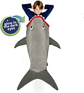 Blankie Tails | Shark Blanket, New Shark Tail Double Sided Super Soft and Cozy Minky Fleece Blanket, Machine Washable Wearable Blanket (56'' H x 27'' (Kids Ages 5-12), Glow in The Dark - Gray)