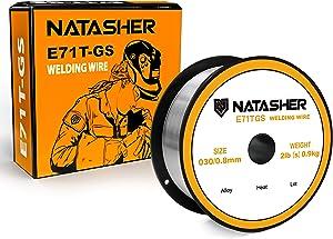 Natasher Flux Core Mig Wire, Mild Steel E71TGS.030-Diameter, 2-Pound Spool Carbon Steel Gasless Flux Cored Welding Wire