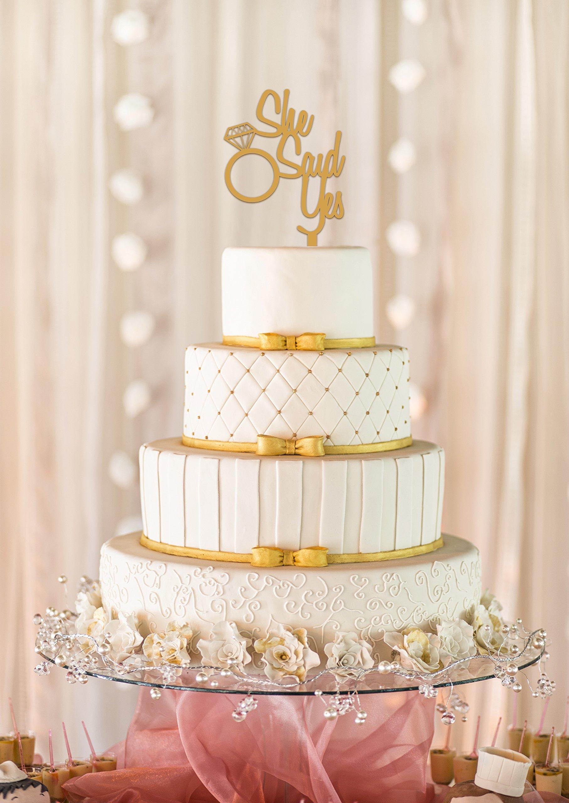 She Said Yes Wedding Cake Topper, Wedding Cake Topper, Bridal Shower Cake Topper, Engagement Party, Bachelorette Party, Wedding Cake Decor (10'', Metallic Gold)