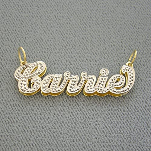 97463d766d9e Image Unavailable. Image not available for. Color  14K Yellow Gold Double  Plates Small 3D Name Pendant Charm Personalized Jewelry