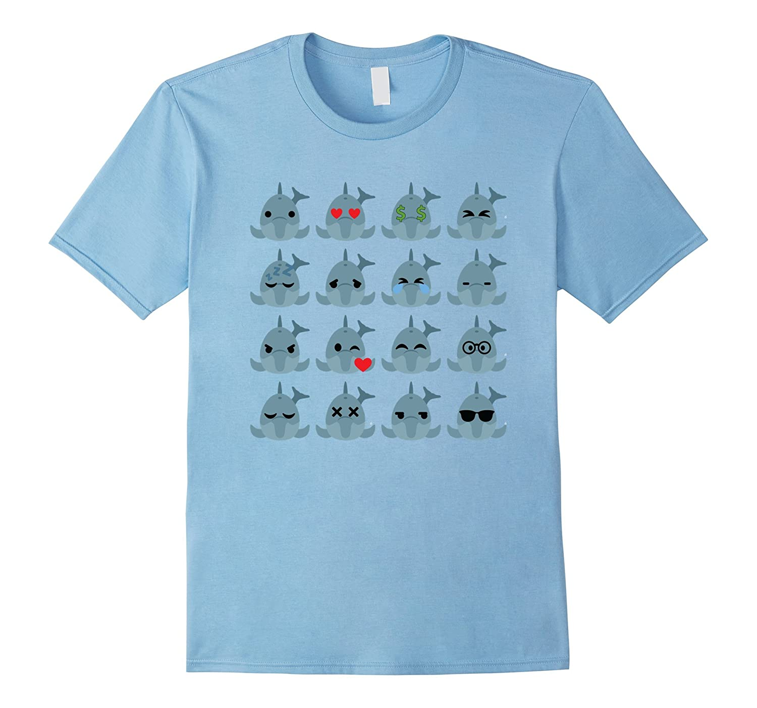 Dolphin Emoji Many Different Face Emotion Shirt T-Shirt Tee-Vaci