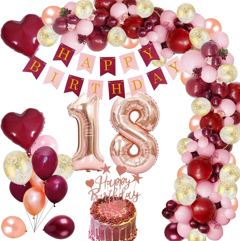 Mmtx 18 Geburtstag Dekoration Burgunder Geburtstagdeko Mit Folienballon Wein Rot Rose Gold Konfetti Luftballons Banner Cake Topper Für Mädchen Frau Geburtstag Jubiläum Gastgeschenke Spielzeug