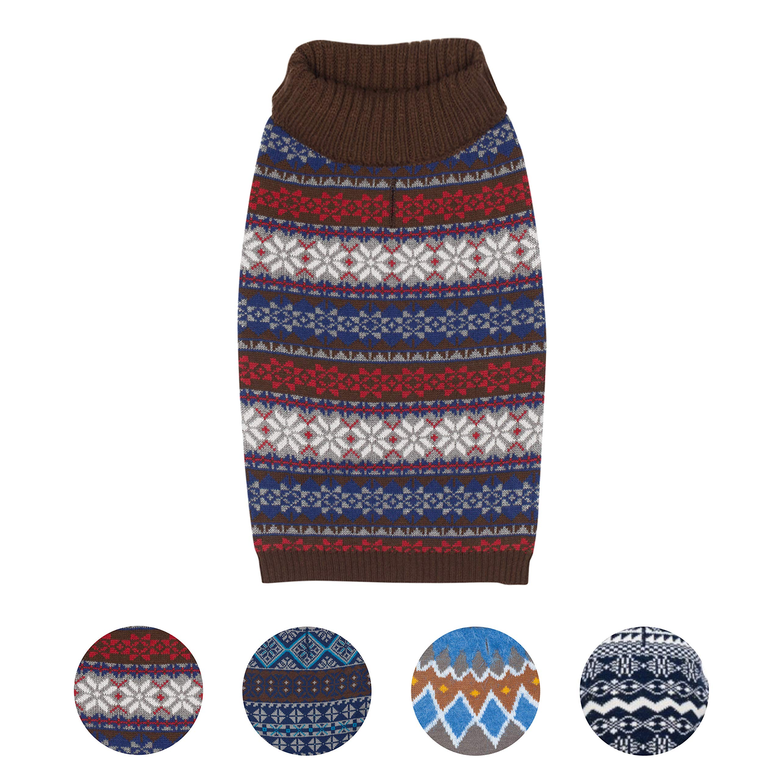 Blueberry Pet 4 Patterns Dark Tone Cool Winter Bloom Designer Pullover Dog Sweater in Cocoa Brown, Back Length 16'', Pack of 1 Clothes for Dogs