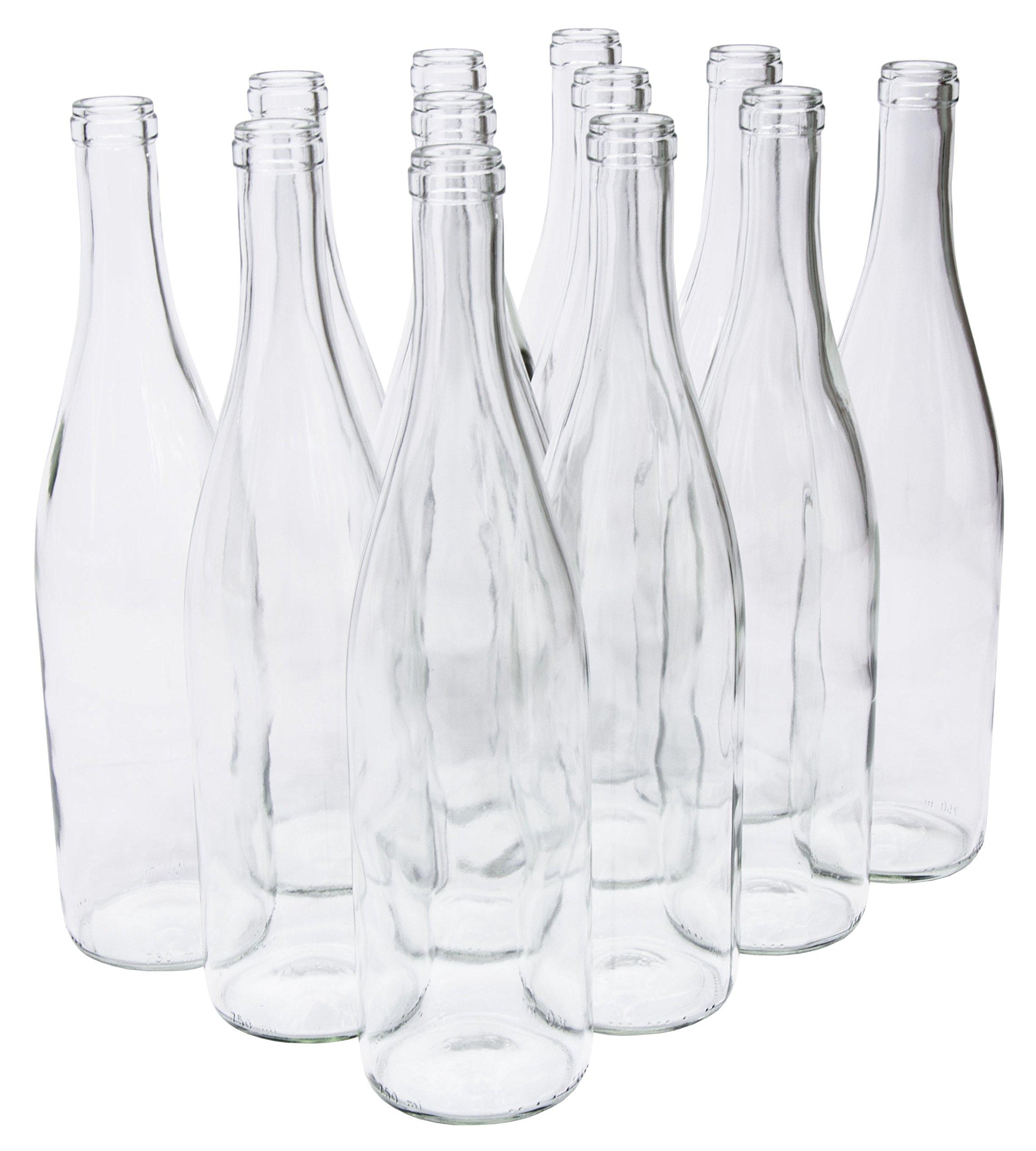North Mountain Supply LDC W82 Clear/Flint 750Ml GLASS California Hock Wine Bottle Flat-Bottomed Cork Finish
