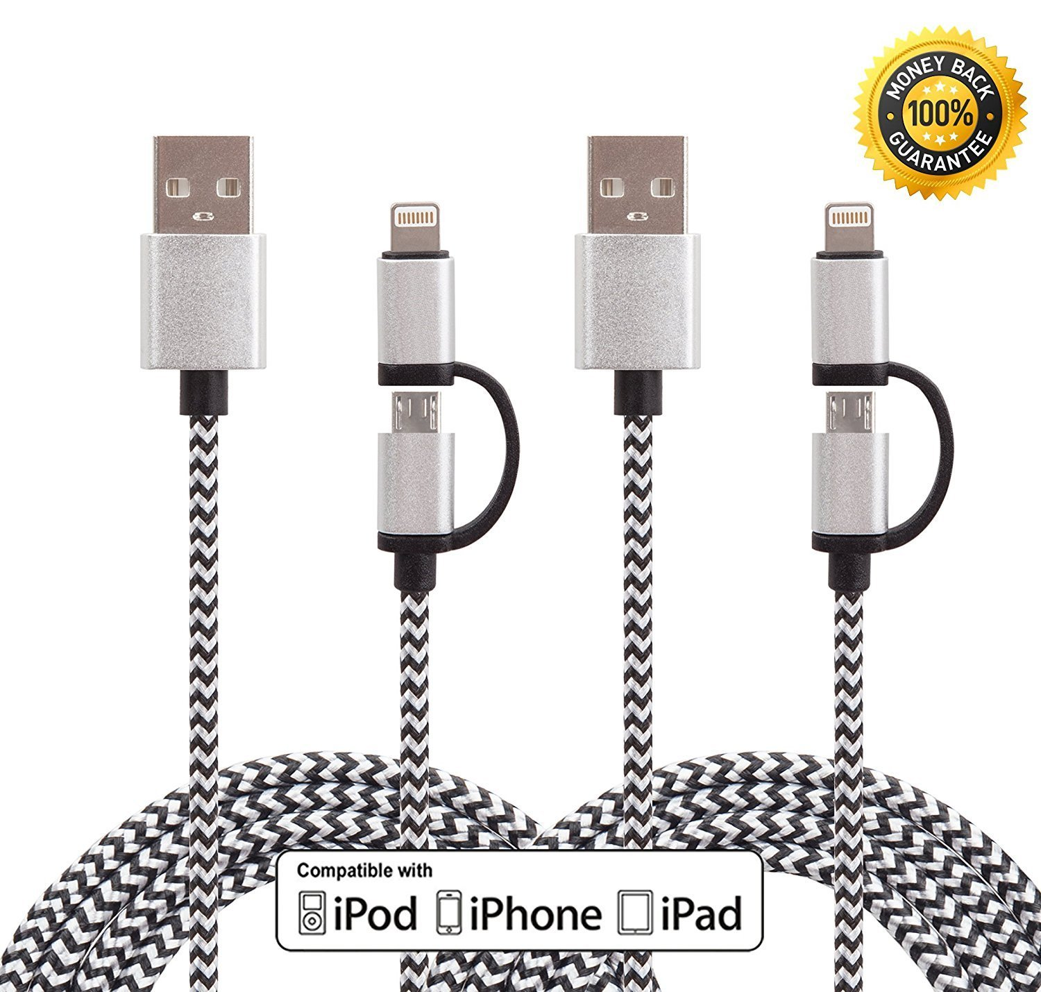 Wecharge(TM) 2 Pack 3FT 2 in 1 Extra Long Nylon Braided 8 pin Lightning& Micro USB Cable Charger for iPhone 6s plus/6s/6 plus/6/5/5s/5c, iPad, iPod, Samsung, HTC, Motorola &Other Smartphones (Black)