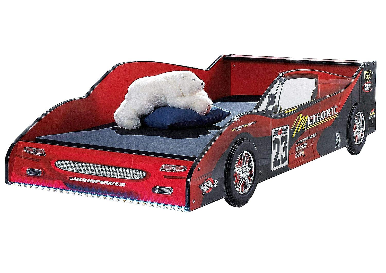 AVANTI TRENDSTORE - Meteor - Letto auto da corsa in legno MDF laccato rosso lucido con illuminazione LED compresa, senza rete a doghe, dimensioni  LAP 95x55x208 cm