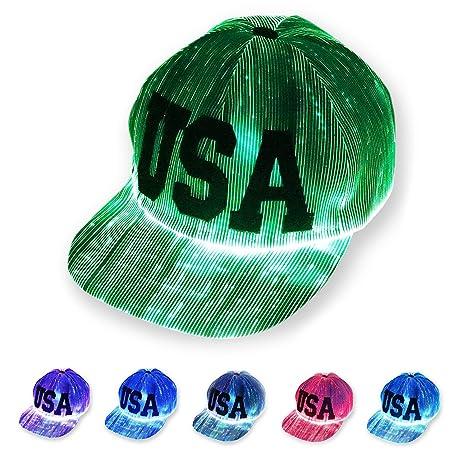 Amazon.com  LED Light up Hat 6 Glowing Lights Baseball Cap for Rave ... 76e03e054687