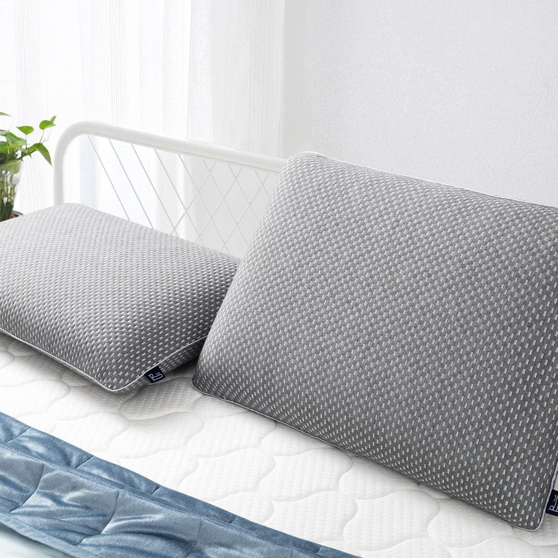 BedStory Almohada Viscoelastica Carbón de Bambú 60x40cm en Forma Ergonomica con Funda Desmontable y Lavable Reduce Dolores Almohada de Cervicales Adecuada para Todas Posicións para Dormir
