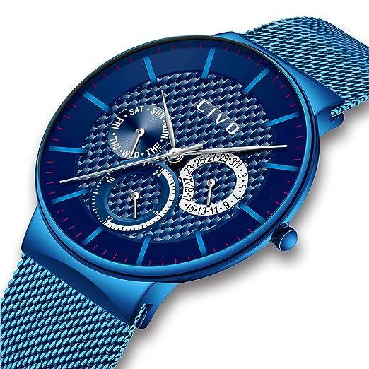 ... Fecha Calendario Moda Relojes de Acero Inoxidable Casuales Clásico Negocios Lujo Relojes de Pulsera para Hombres Adolescente Azul: Amazon.es: Relojes