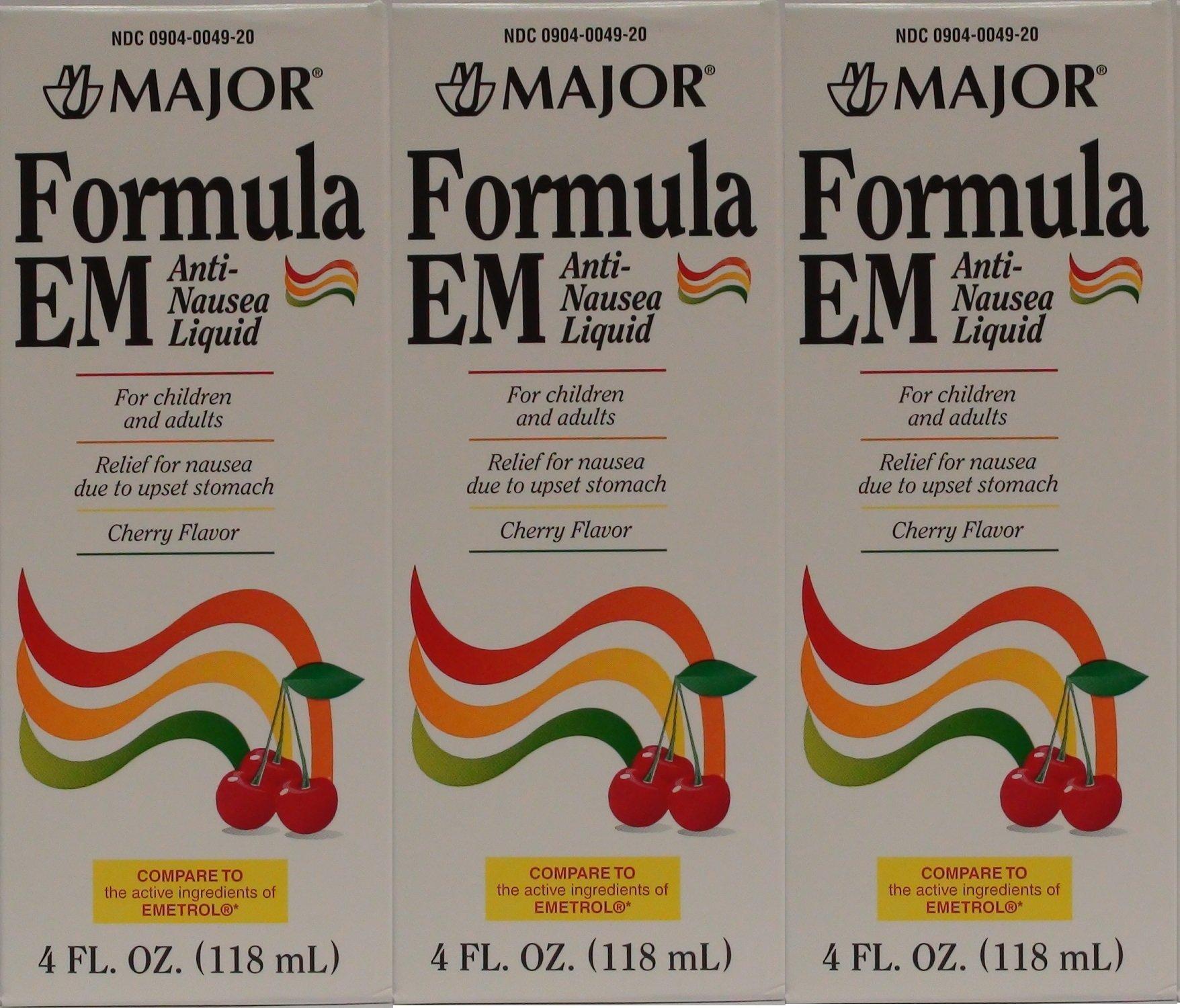 Formula EM Generic for Emetrol Nausea & Upset Stomach Relief Cherry Flavor 4 oz. Bottle Pack of 3 Total 12 oz.