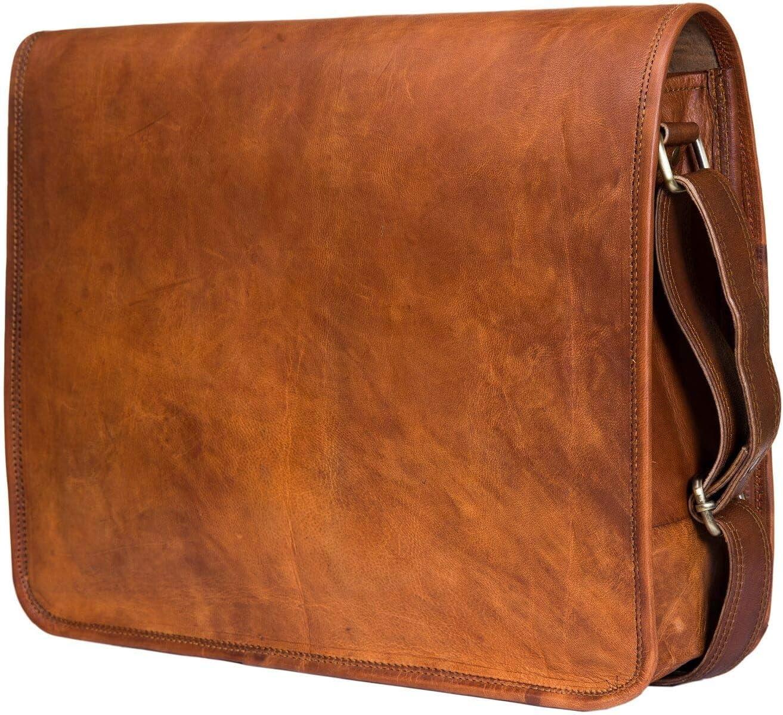 Leather Laptop Shoulder Satchel Messenger Bags for Men Size 15 inch