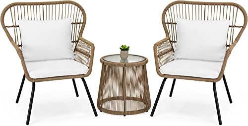 Best Choice Products 3-Piece Outdoor All-Weather Wicker Conversation Bistro Furniture Set w 2 Chairs and Glass Top Side Table, Tan