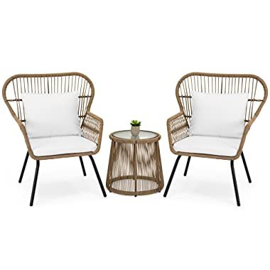 Best Choice Products 3-Piece Outdoor All-Weather Wicker Conversation Bistro Furniture Set with 2 Chairs and Glass Top Side Table, Tan
