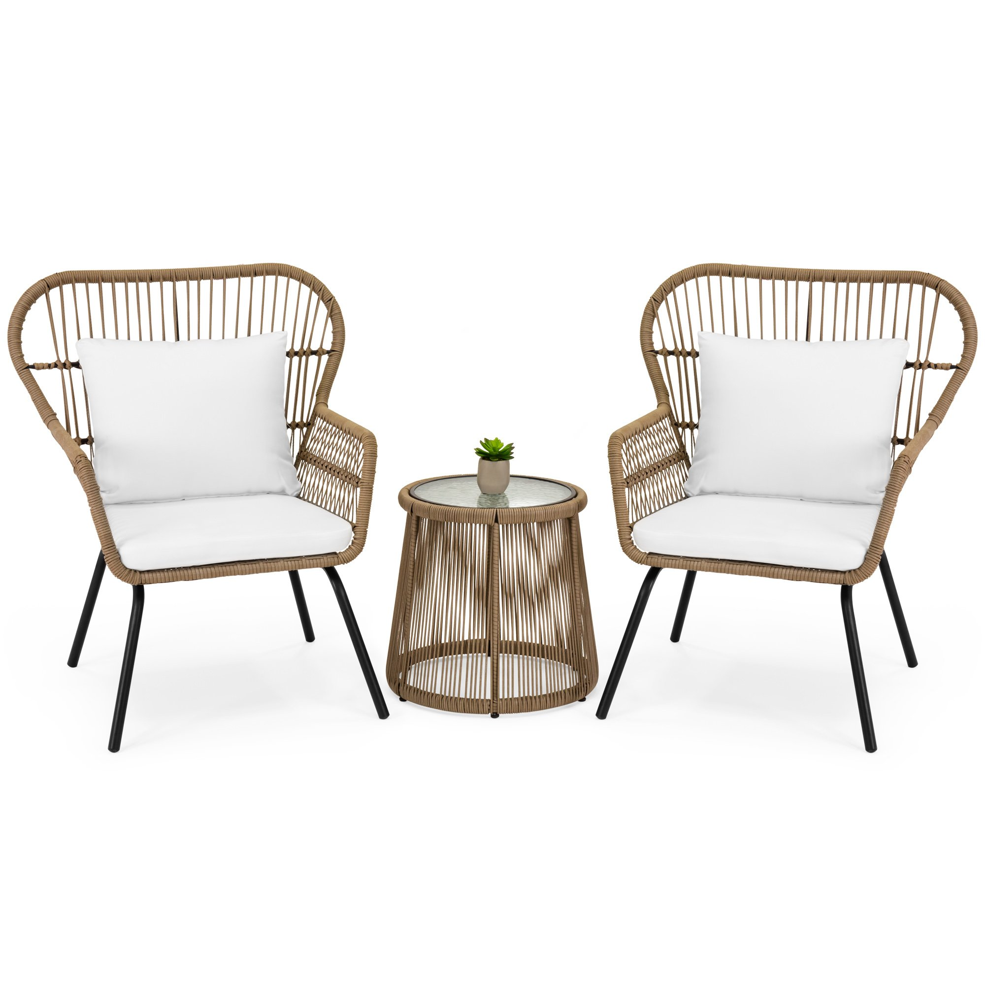 Best Choice Products 3-Piece Patio Wicker Conversation Bistro Set w/ 2 Chairs, Side Table, Cushions - Tan