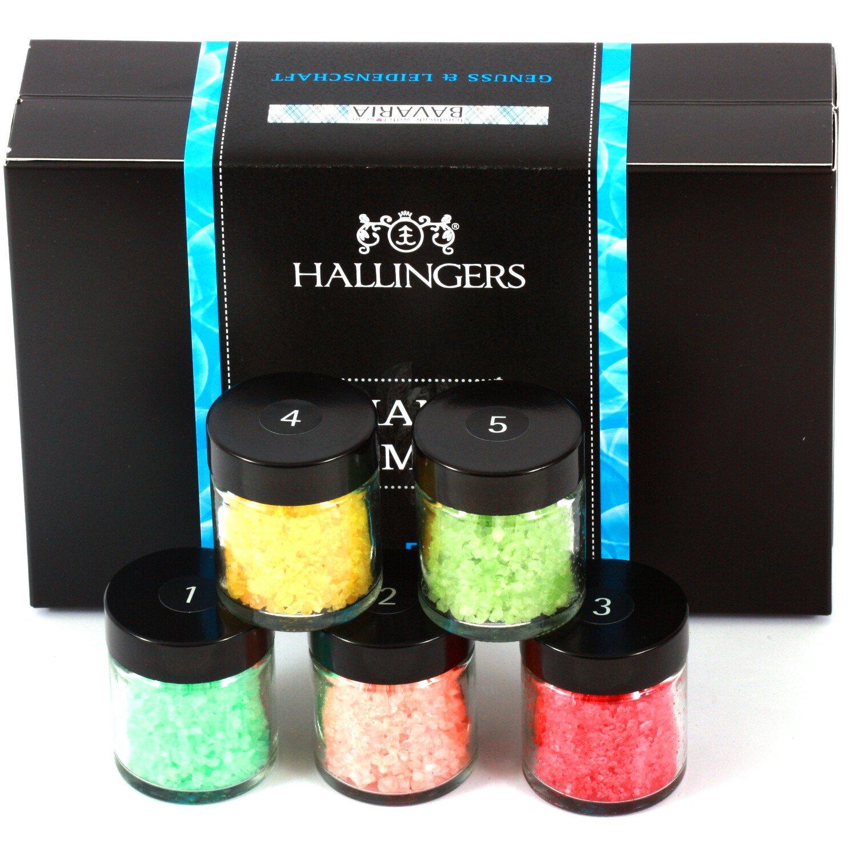 Hallingers Badesalz Mix Mann Oh Mann, z.B. für Muttertag, Vatertag, Valentinstag | Set/Mix | 5x Miniglas in MiniDeluxe-Box | 175g z.B. für Muttertag
