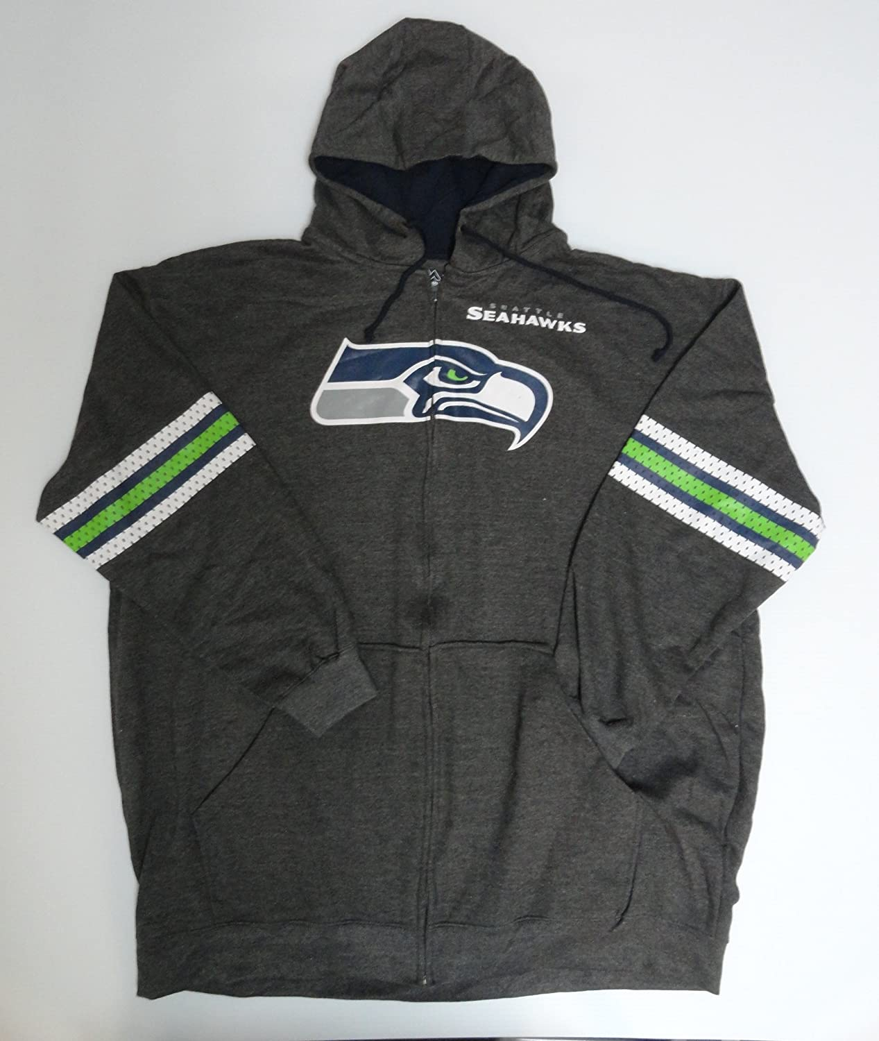 443ab2609 Amazon.com   Majestic NFL Licensed Seattle Seahawks Charcoal Full Zip Hoodie  Sweatshirt Jacket Name and Logo Front (4XT)   Sports   Outdoors