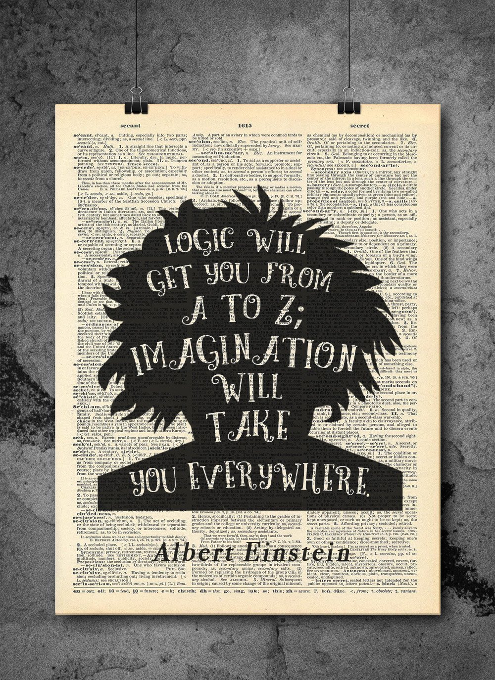 Albert Einstein Quote - Imagination - Vintage Dictionary Print 8x10 inch Home Vintage Art Abstract Prints Wall Art for Home Decor Wall Decorations For Living Room Bedroom Office Ready-to-Frame