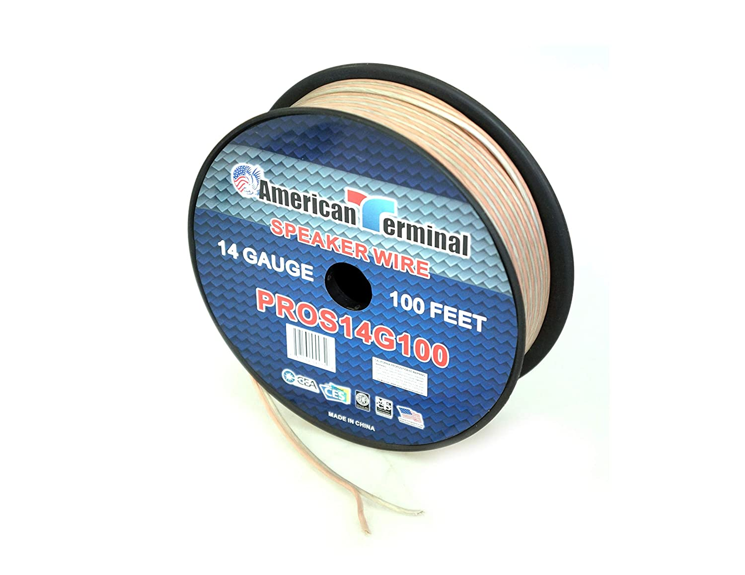 of 14 Gauge Pro Series Clear Speaker Wire American Terminal PROS14G100 100 ft