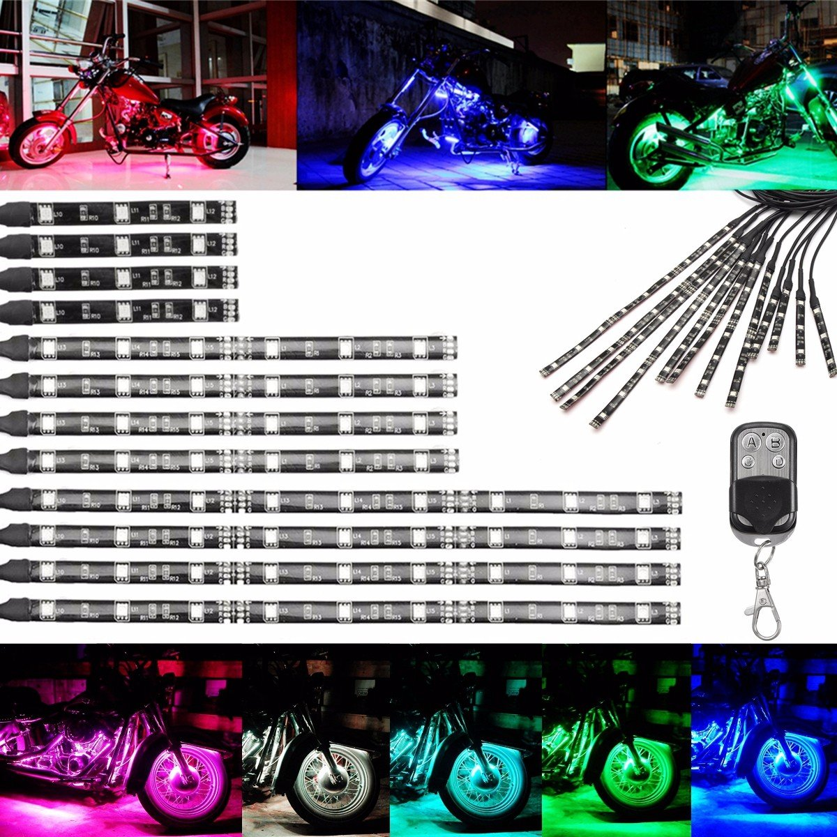 AUDEW Motorcycle Led glow light Strips with Wireless Remote Controller RGB Multi-Color Neon Glow Flashing Lights for Harley Davidson Honda Kawasaki Suzuki Ducati Polaris KTM BMW (Pack of 12) 4332994368