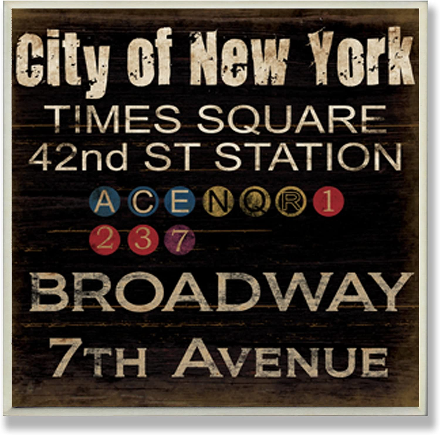 Stupell Home Décor City Of New York Subway Stops Square Wall Plaque, 12 x 0.5 x 12, Proudly Made in USA