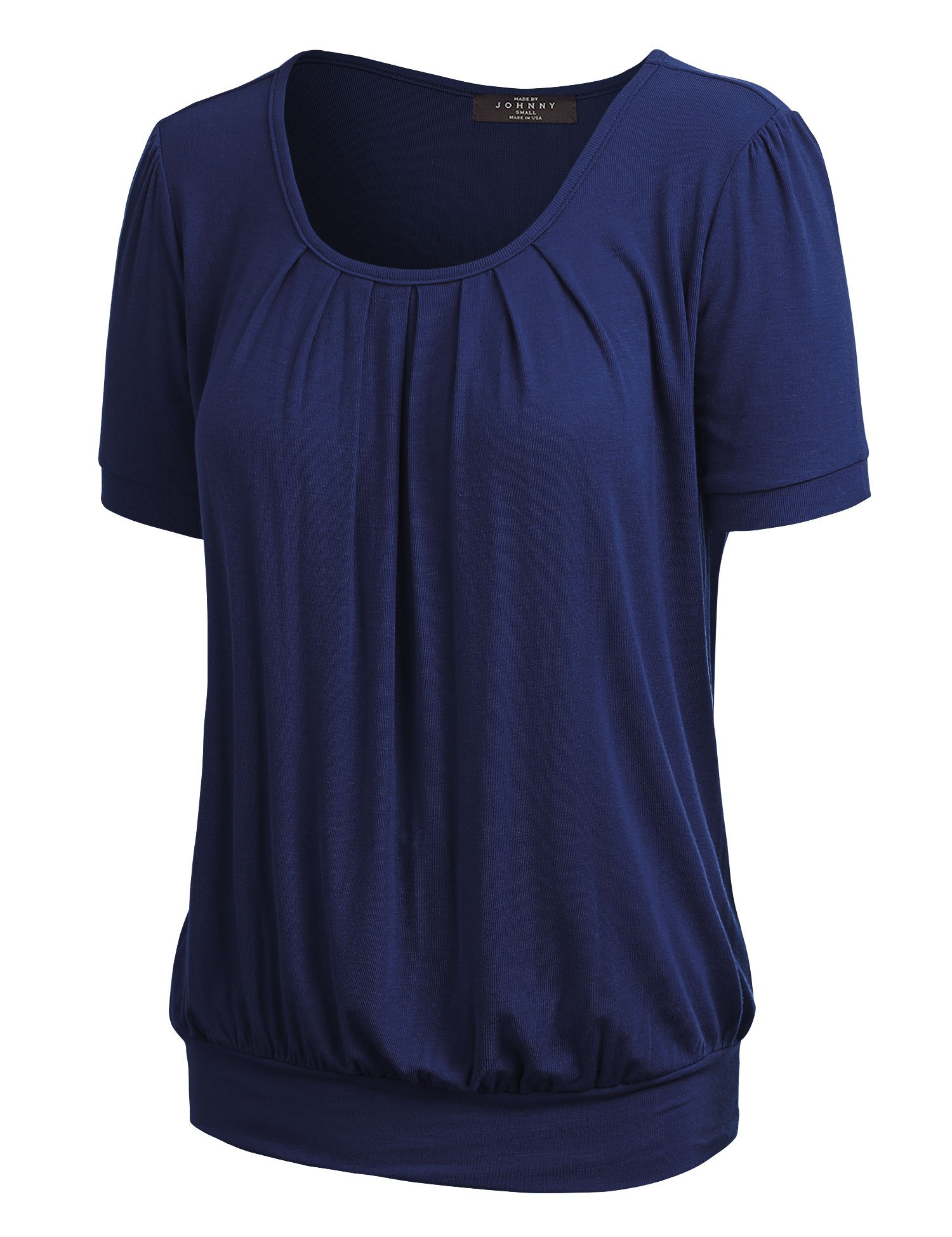 Made By Johnny WT1175 Womens Scoop Neck Short Sleeve Front Pleated Tunic S Navy by Made By Johnny (Image #2)
