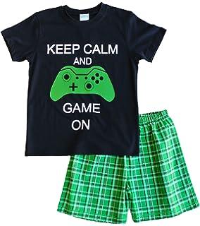 Niños Keep Calm y juego en corto pijama 9 – 14 años verde cuadros