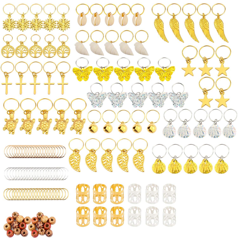 SUBANG 200 Pieces Aluminum Hair Coil Dreadlocks Including Braid Rings Coil Dreadlocks Hair Crown Braids Accessory Hair Braiding Cuffs dreadlocks Including 110 Dreadlocks Beads and 70 Hair Clip
