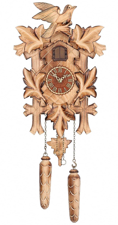 Trenkle Quartz Cuckoo Clock 5 leaves, bird, with music TU 374 QM HZZG