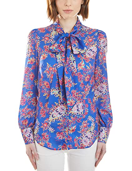 2af0be8bc27b2 HAWES   CURTIS Women s Blue   Red Paisley Fitted Shirt - Single Cuff - Pussy  Bow